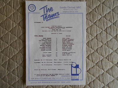1995/96 Leeds Utd Res V Wolves Res Pontins League Single Sheet Programme