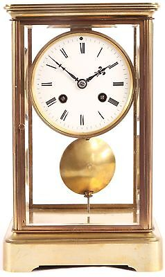 A 19Th Century French Four Glass Brass Mantel Clock