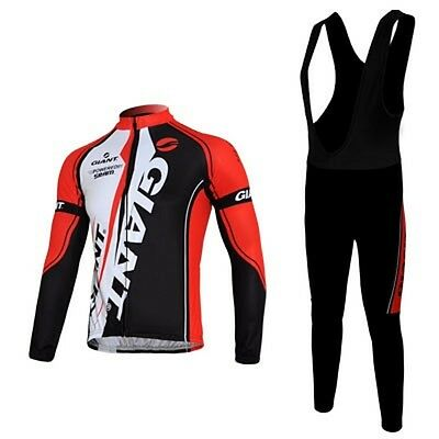 Winter Men's Cycling Thermal Fleece Bicycle Long sleeve Jersey + Long Bib Pants
