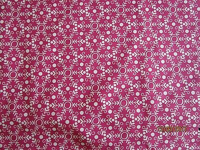 Folk Festival patchwork Fabric by Rosalie Quinlan PInk and white