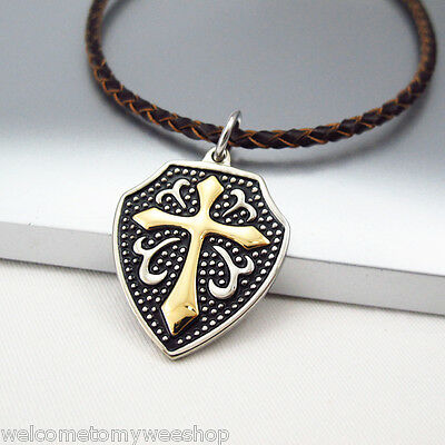 Silver Black Medieval Shield Gold Cross Pendant Braided Brown Leather Necklace