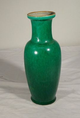 Antique Vintage Chinese Apple Green Republic Period Rouleau Vase As Is