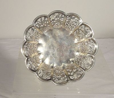 Antique Chinese Export Sterling Silver Wang Hing Tazza Dish Bowl Reticulated