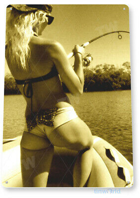 TIN SIGN PGB669 Good Catch Pin-up Girl Fishing Hot Rod Reel Fish Metal Decor