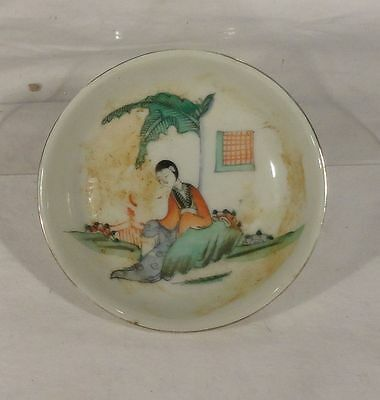 Vintage Chinese ANtique Style Porcelain Small Change Dish Bowl Enameled