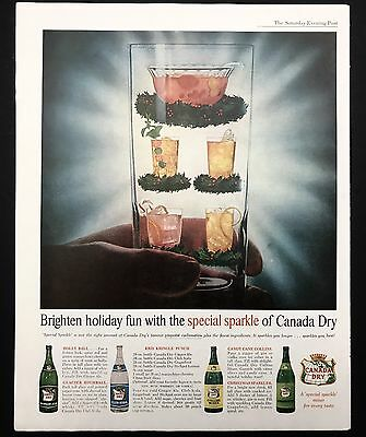 1961 Vintage Print Ad 1960s CANADA DRY Ginger Ale Drink Refreshment