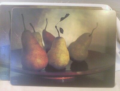 2 Pimpernel Cork Placemats by Sonya Pletes, Photo of Pears, One Damaged