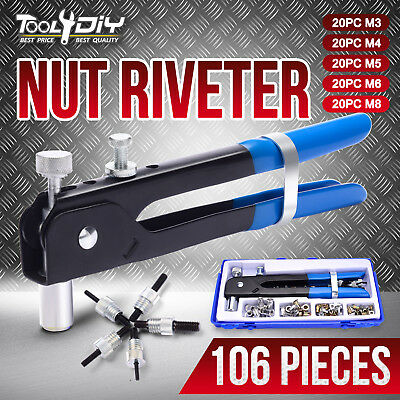 106pcs Threaded Nut Rivet Tool Riveter Rivnut Nutsert Gun Riveting Kit M3-M8
