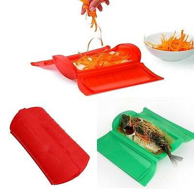 Food Grade Silicone Steam Case Microwave Oven Fish Steamer Baking Bowl Bakeware