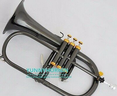 QUALITY ! Prof Black Plated Bb Flugelhorn • Case • New • Superb Flugel Horn