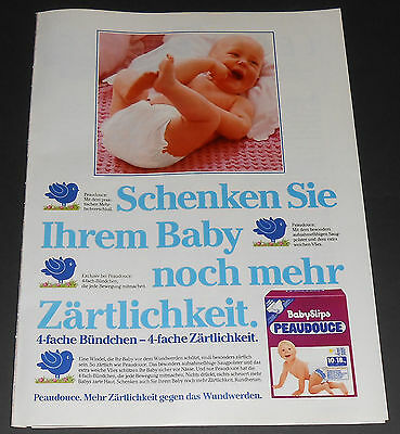 1985 vintage print ad page - PEAUDOUCE DIAPERS - GERMANY 1-PAGE AD bedwetting