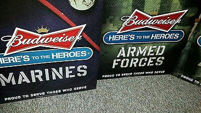 Budweiser Armed Forces Heroes Navy Army Marines Air Force Set of 5 Metal sign