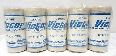 "VICTOR waxed linen lacing cord 864 feet ""3 cord"" Ludlow Textiles USA Set of 5"