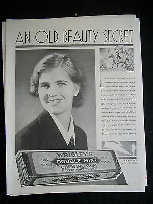Vintage 1930 Original Magazine Ad BW Wrigley's Chewing Gum An Old Beauty Secret