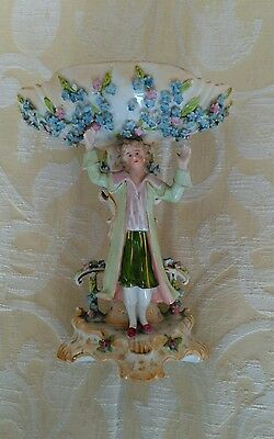 Edwardian Forget Me Not Bon Bon Dish With Hand Painted Figure