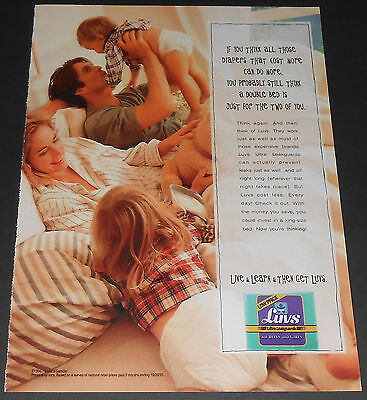 1996 vintage print ad - LUVS ULTRA DIAPERS - OLDER GIRL TODDLER 1-PAGE ADVERT