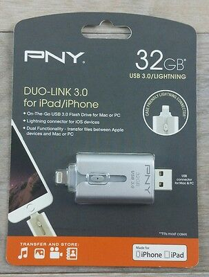 Genuine PNY Duo-Link OTG USB 3.0 Flash Drive For Apple IPhone/iPad, 32GB