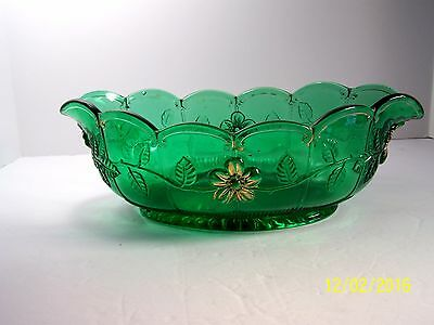 "EAPG US Glass Co. ""Panelled Dogwood"" emerald green, oval bowl"