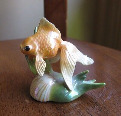 Vintage Hagen Renaker Miniature Fantail Goldfish Figurine Marked HR