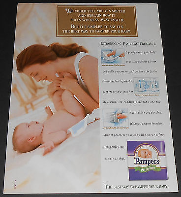 1996 vintage ad page - PAMPERS PREMIUM DIAPERS - 1-PAGE PRINT ADVERT girl cute
