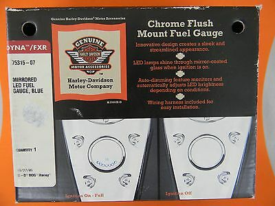 Harley Davidson Dyna LED Mirrored Fuel Gauge Blue     New      75315-07