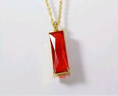"18K Yellow gold filled Red Ruby pendant 24"" 316L stainless steel necklace chain"