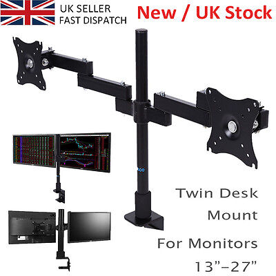 "Double Twin Arm Desk Mount TV LCD Monitor Computer Screen Bracket 13-27"" UK SALE"
