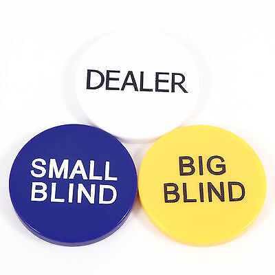 3 Piece Poker Button Pack Dealer Button Big Blind Small Blind