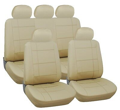 VW PASSAT ESTATE 11-ON Full Set Leather Look Beige Seat Covers Protectors