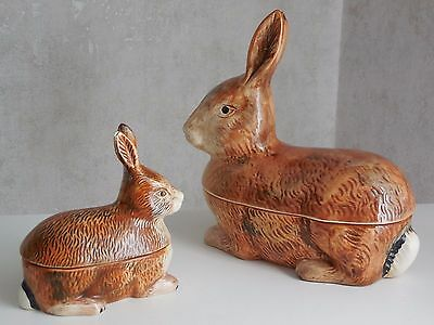 2 Vintage French Majolica TERRINES handmade Michel Caugant : BUNNY RABBIT family