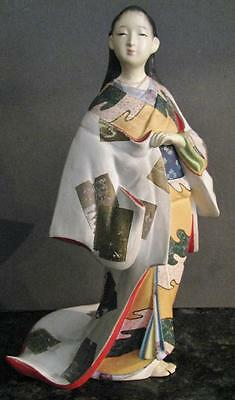 Japanese Vintage Hakata Urasaki Painted Clay Woman In Kimono
