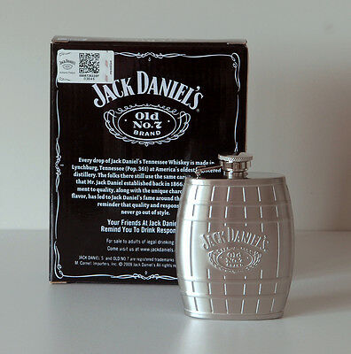 Jack Daniel's Stainless Steel Barrel Flask 8520Jd Officially Licensed