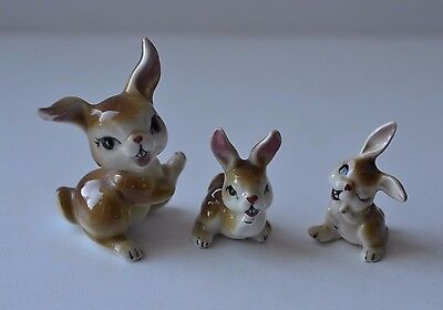VINTAGE SMALL MINIATURE BONE CHINA FIGURINE ~ Rabbit Bunny ~ Set of 3