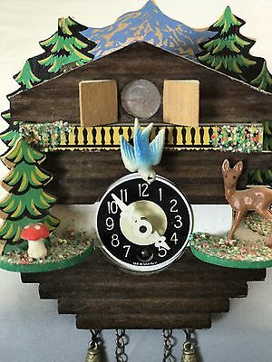 Vintage Small Miniature Cuckoo Clock For Parts Repair Made In Germany