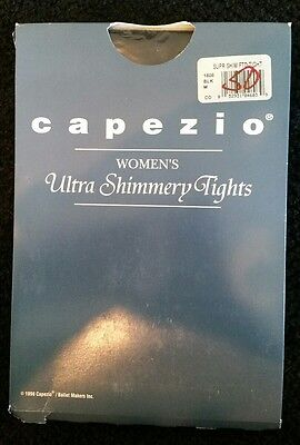 New CAPEZIO 1808 Womens Ultra Shimmery Footed Tights BLACK M Dance Ballet