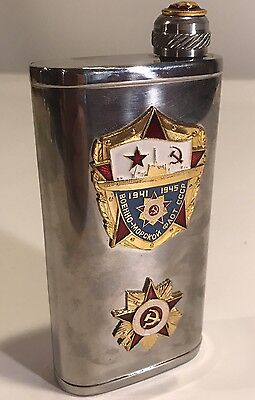 "Russian Soviet CCCP Military Stainless Steel Hip Liquor Flask 5.5"" enamel badge"