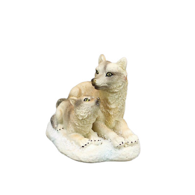 "Small Wolf With Pup Figurine 2.5"" Tall  Wild Animal Collectible Statue D"