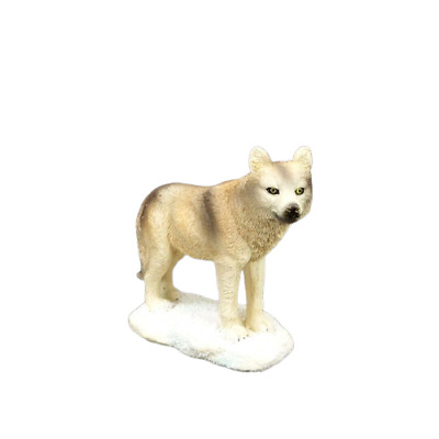 "Small Wolf in the Snow Figurine 3"" Tall  Wild Animal Collectible Statue C"