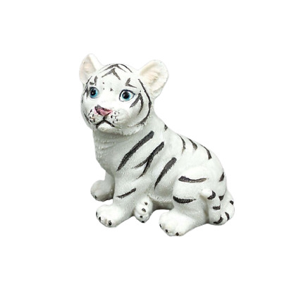 "Small White Tiger Figurine 2.5"" Tall Wild Cat Collectible Statue A"