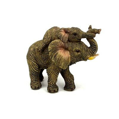 "Small Elephant With Baby Statue Lucky Elephant Figurine Collectible 3"" Tall D"
