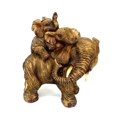 Mother Elephant With Two Baby Elephants on Her Back Figurine Wild Animal Statue