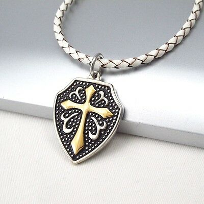 Silver Black Medieval Shield Gold Cross Pendant Braided White Leather Necklace