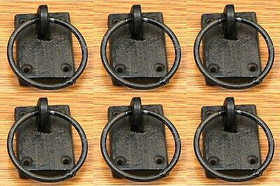 Set of 6 Cast Iron Ring Antique-Style Drawer Cabinet Pulls Handles Knobs 3""