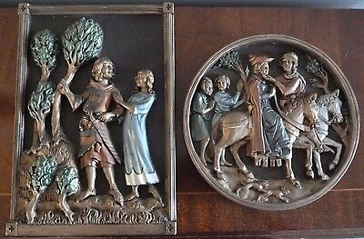 2 x Marcus Designs Plaques, Wall Hangings - Medieval  Scenes - D H Morton- c1975