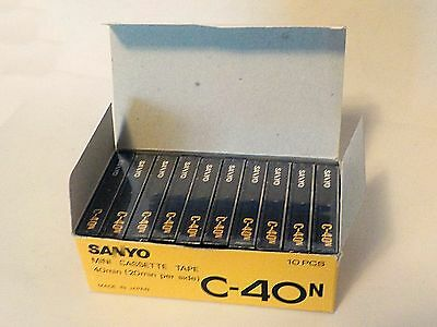 10 New Microcassette Tapes Sealed - Sanyo C 40 N for Dictaphones