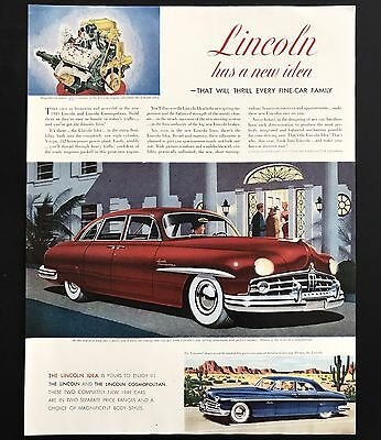 1948 Vintage Print Ad 1940s LINCOLN Automobile Car Illustration