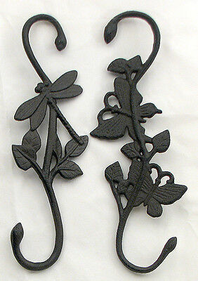 Cast Iron Butterfly & Dragonfly Plant Hanger Outdoor Garden Yard Decor 12x4""