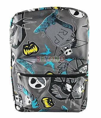 "16"" The Nightmare Before Christmas All Print School Backpack Gray A04651"
