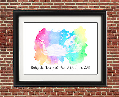 Rainbow baby scan ultrasound watercolour keepsake print A5 Babyshower gift twins