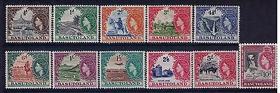 Basutoland 1954 Stamps SC# 46-56 QEII definitives Cpl. MNH Set Cat.$105